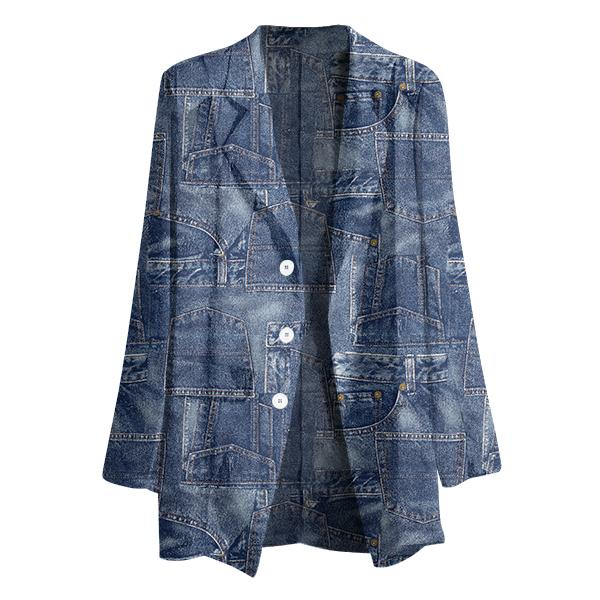Gabriel Held Patch Denim Chiffon Blazer