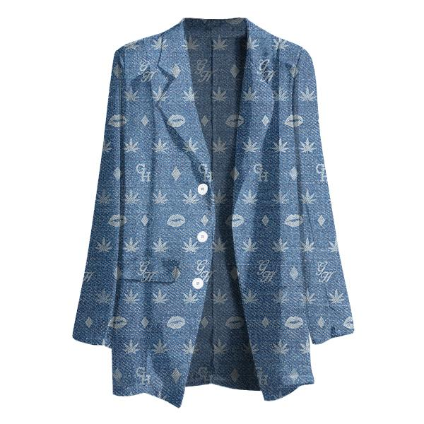 PAOM, Print All Over Me, digital print, design, fashion, style, collaboration, gabrielheld, Gabriel Held Chiffon Blazer, Gabriel-Held-Chiffon-Blazer, GabrielHeldChiffonBlazer, Denim, Logo, autumn winter spring summer, unisex, Poly, Tops