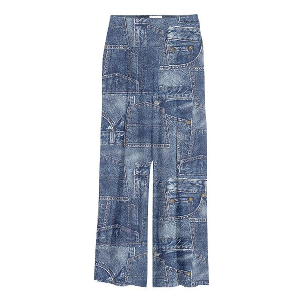 Gabriel Held Patch Denim Chiffon Slacks