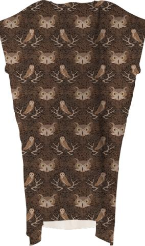 Barn and Hoot Owl Over a Brown Moss Pattern