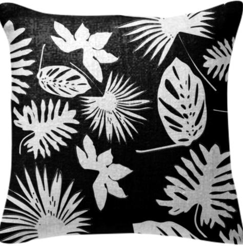 Tropical Leaves White on Black Pillow