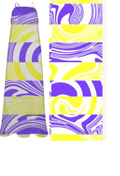 Abstract in yellow and purple chiffon dress