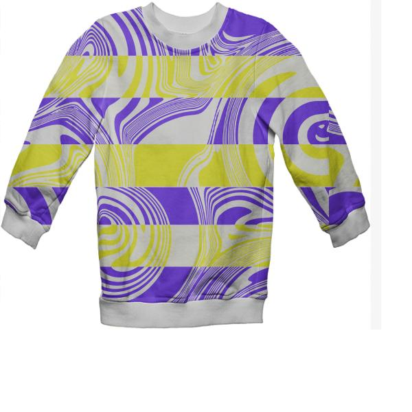 Abstract in yellow and purple kids sweater