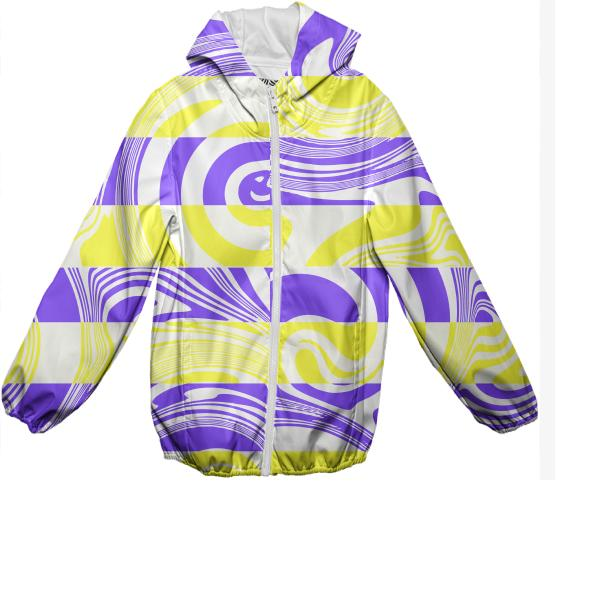 Abstract in yellow and purple kids rain jacket