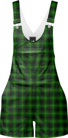 Green Plaid Overalls