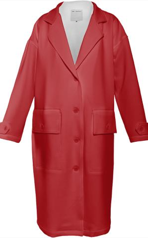Red Neoprene Trenchcoat by LadyT Designs