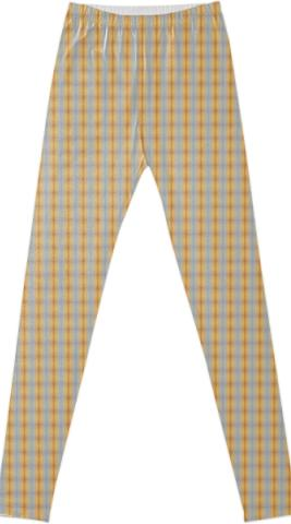 blue yellow summer stripe pattern Fancy Leggings