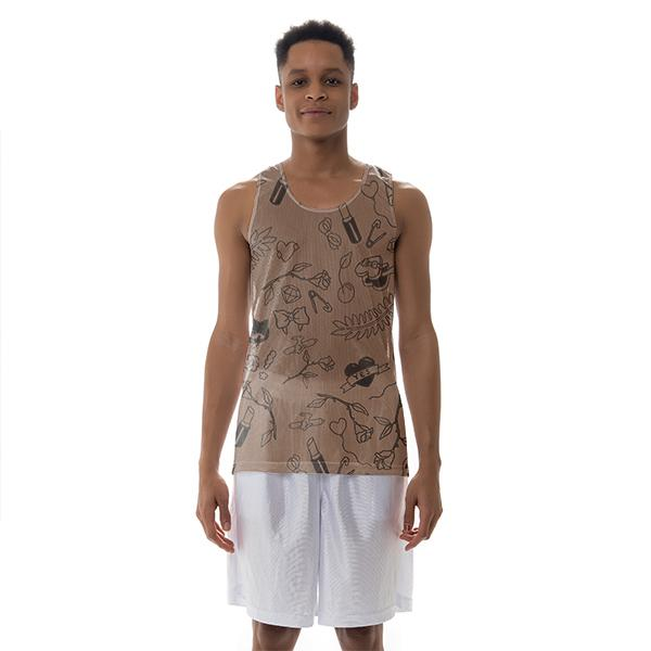 Tattoo Mesh Tank Chocolate