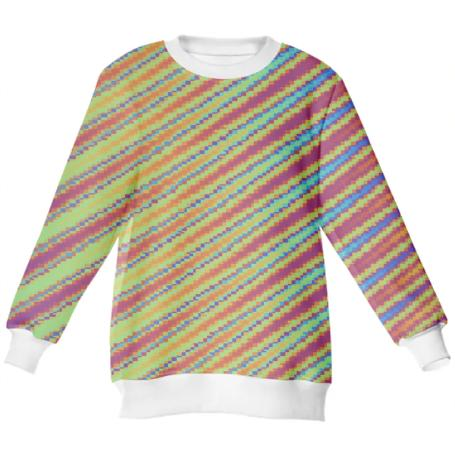 Rainbow Glitch Stripes Sweater