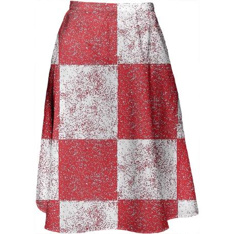 Frost Red and White Checkered Midi Skirt by LadyT Designs