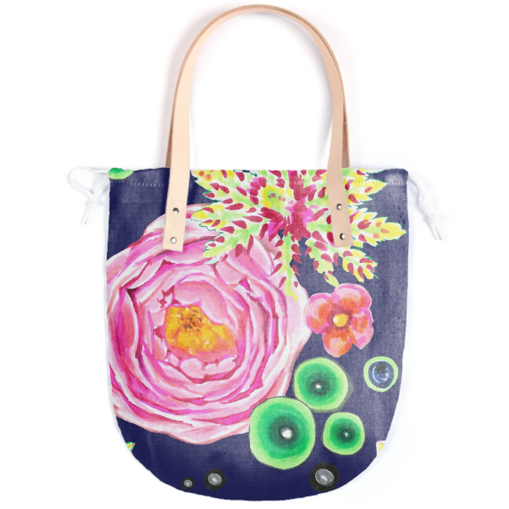 Tropical and pink rose floral with neon green bubbles on navy