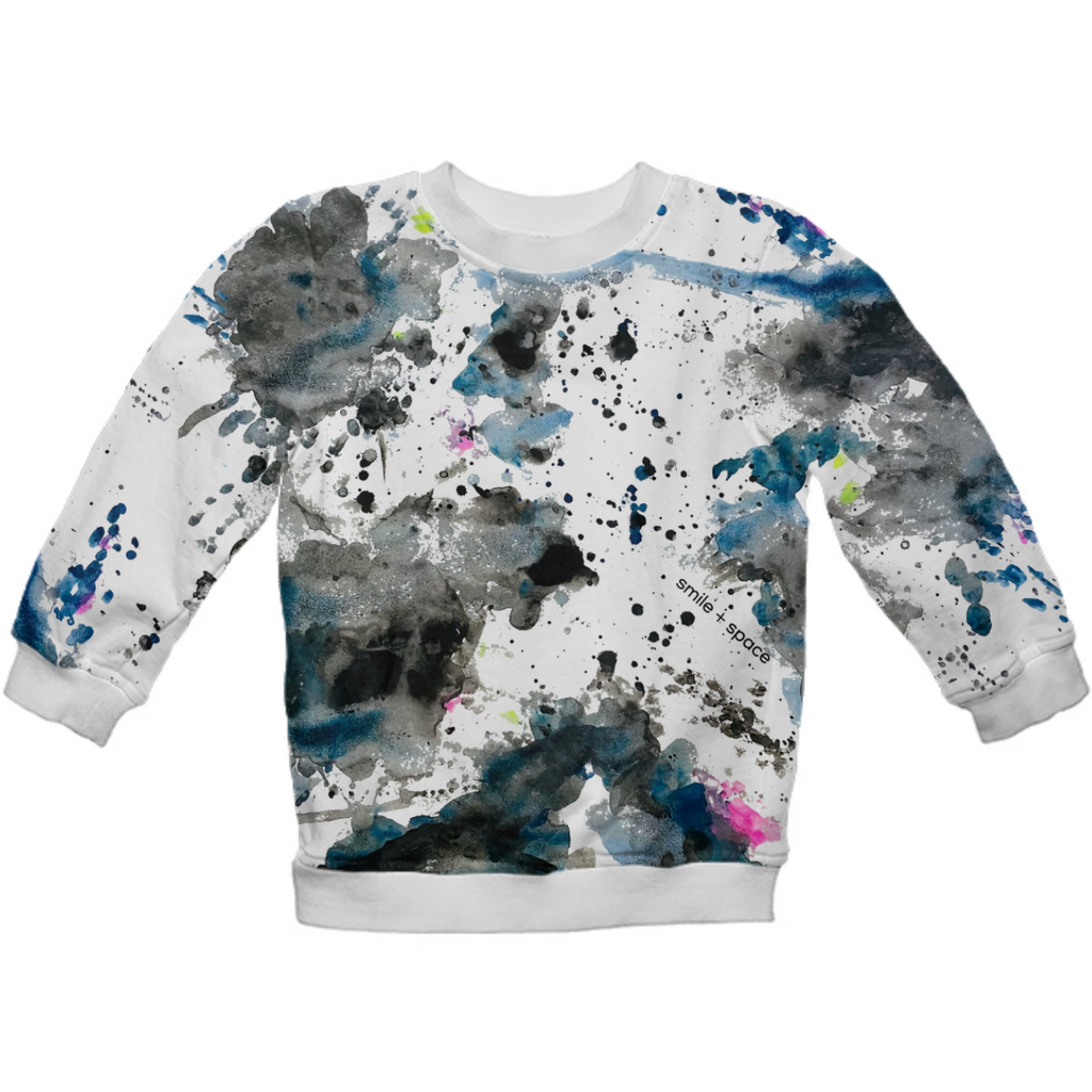 smile and space all over kids sweatshirt