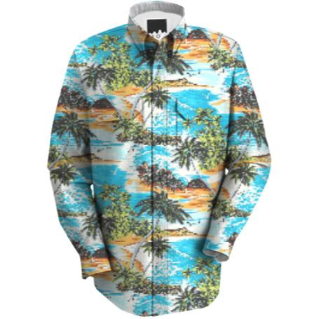 Blue Hawaiian Shirt with Long Sleeves