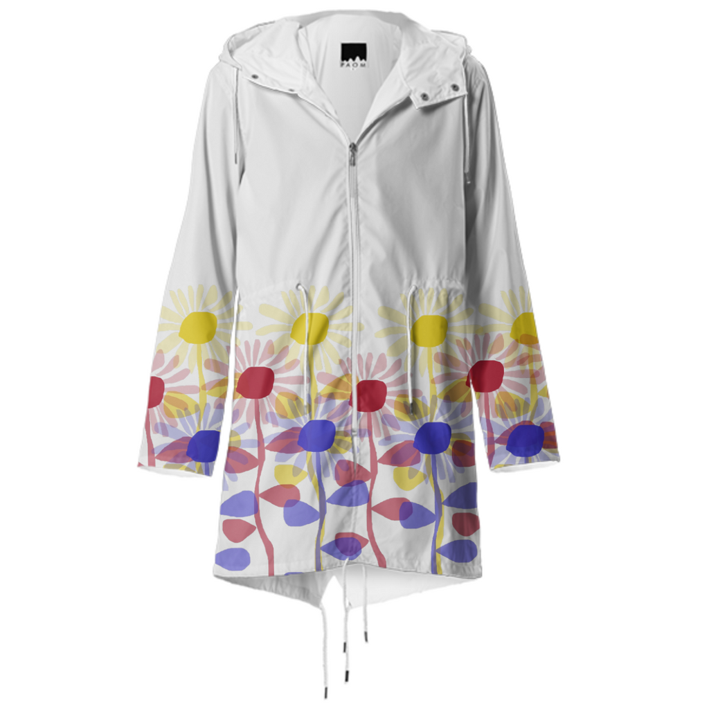 Red Yellow and Blue Sunflowers Raincoat