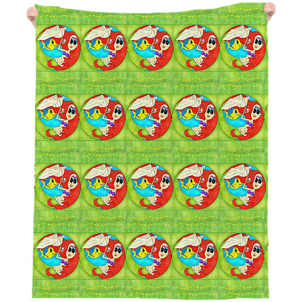 Little Mermaid Print Beach Throw
