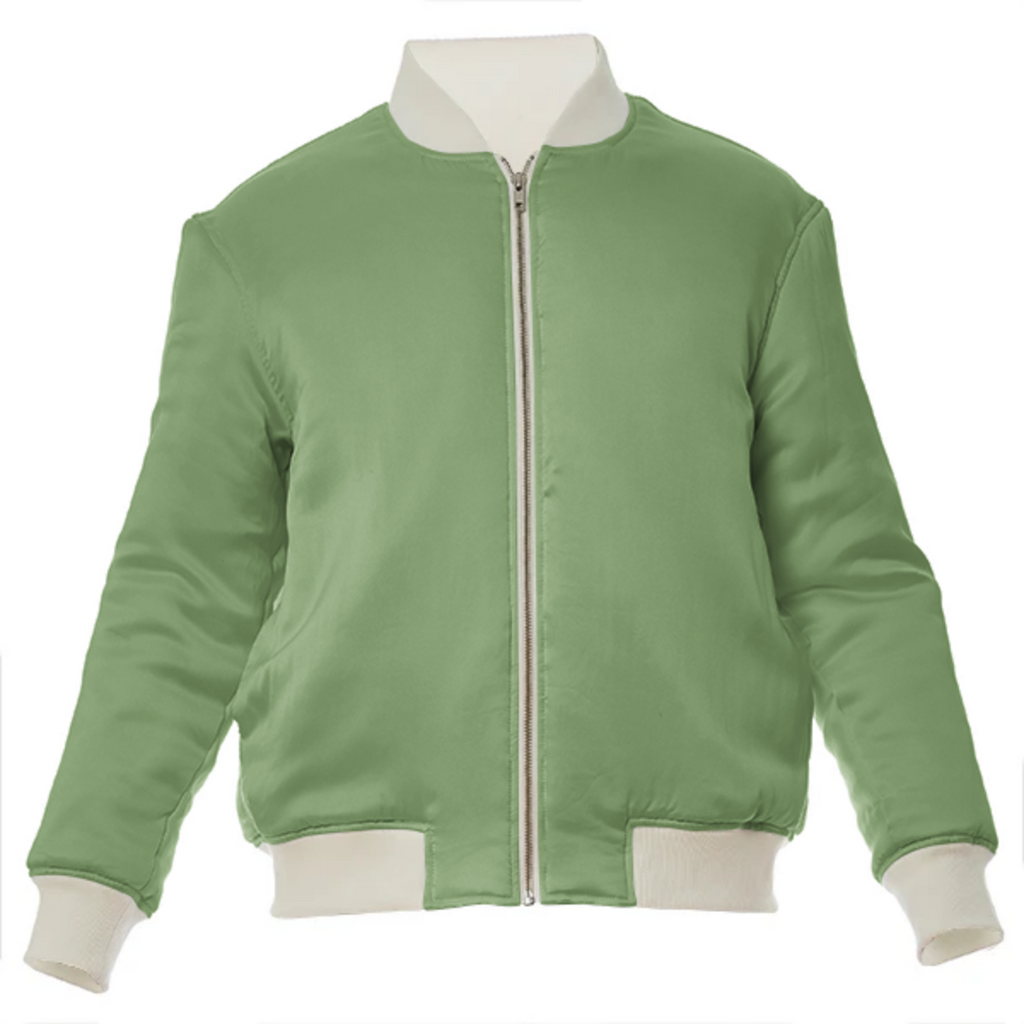 color asparagus VP silk bomber jacket