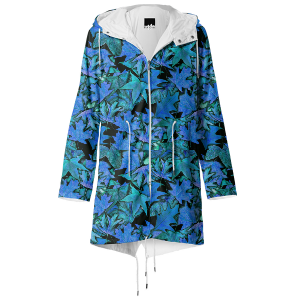 Blue Fall Leaves Raincoat