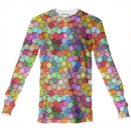 Colorful Geometric Polygon Pattern Henley Shirt