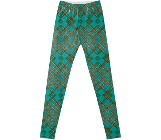 TRACY PORTER BLUE SAGE TARTAN LEGGINGS