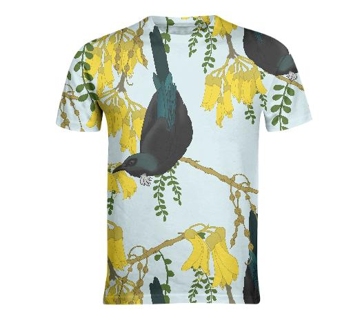 Tuis in the Kowhai Flowers Fitted Tshirt