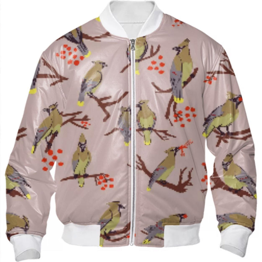 Cedar Waxwings Grey Pink Bomberjacket