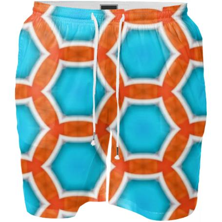 Orange and Teal Geometric Swim Shorts