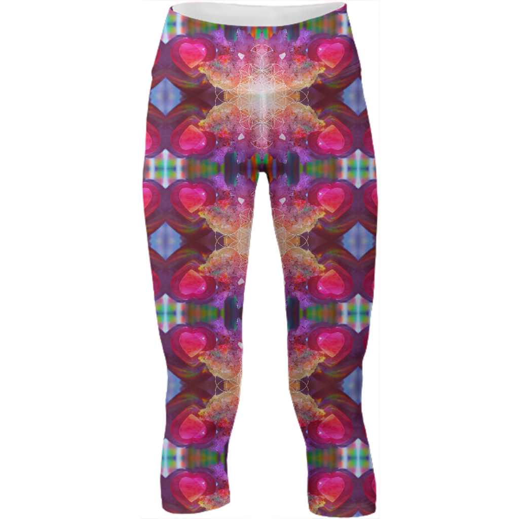 rainbow amethyst and rose quartz crystal rainbow mandala ~ yoga pants  ~ design 04