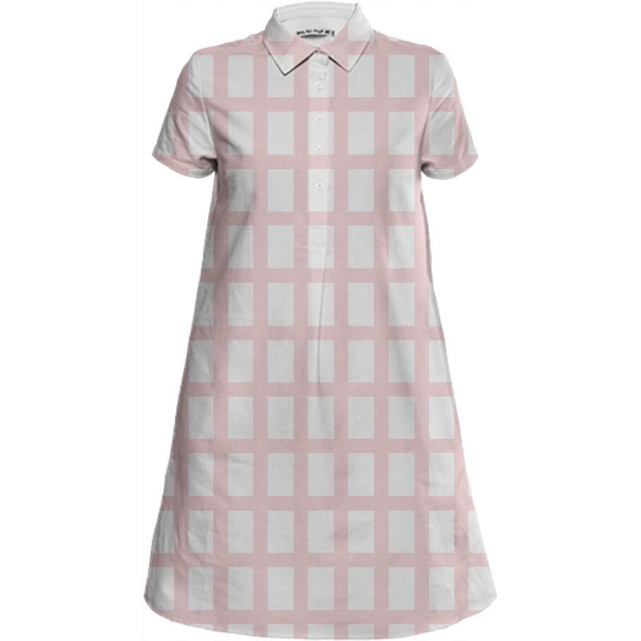 PAOM, Print All Over Me, digital print, design, fashion, style, collaboration, sugarandcloth, Mini Shirt Dress, Mini-Shirt-Dress, MiniShirtDress, Pink, Grid, spring summer, unisex, Linen, Dresses