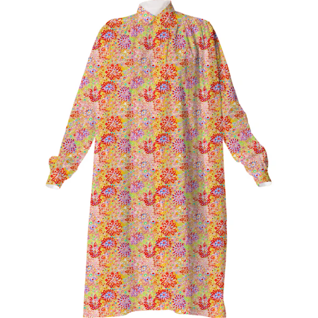 3D Flower Garden shirt dress