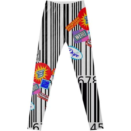 PAOM, Print All Over Me, digital print, design, fashion, style, collaboration, geoffrey-mac, geoffrey mac, Leggings, Leggings, Leggings, Barcode, Patch, autumn winter spring summer, unisex, Spandex, Bottoms