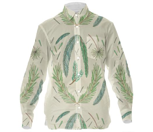 Pine Study Mens Button Down by Amanda Laurel Atkins