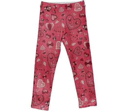 Pink flowers and hearts kids leggings