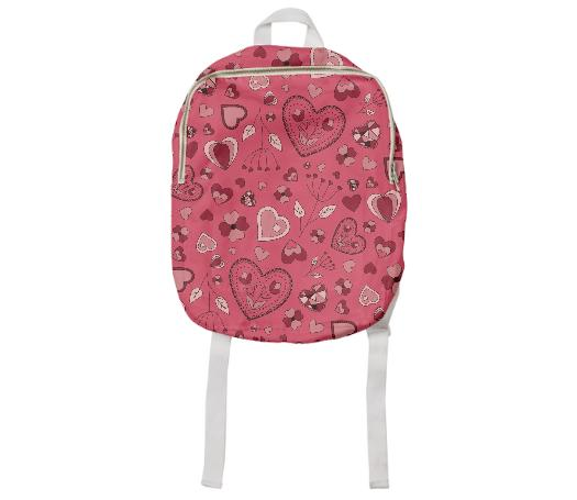 Pink flowers and hearts kids backpack
