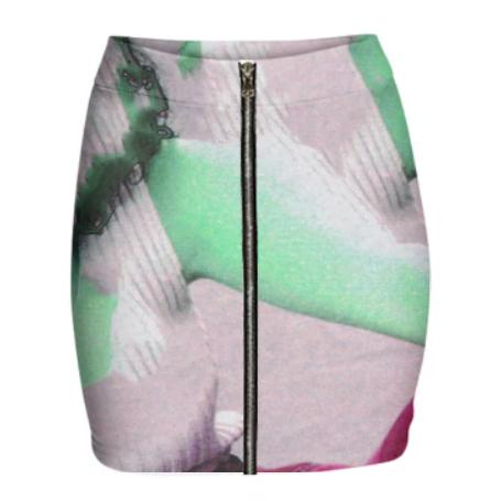 Gabriel Held Neoprene Mini Zip Skirt