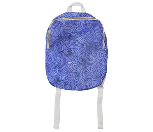 Royal blue swirls doodles Kids Backpack
