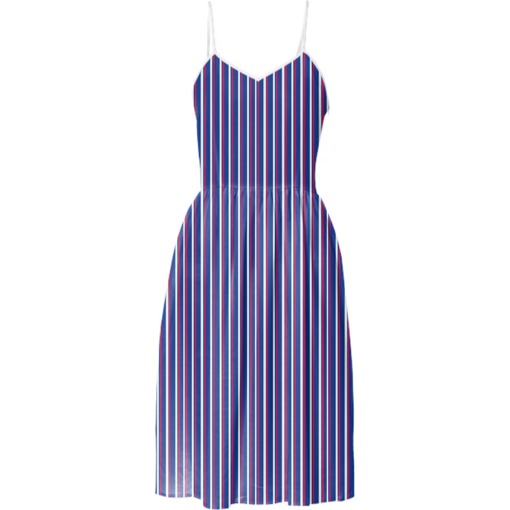 Stripe Blue White Red Marine Themed Summer Dress