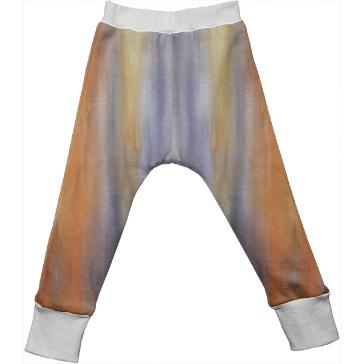Gray Orange Yellow Stripes Painting Kids Drop Pant