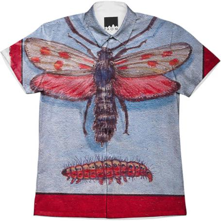 David Beck Bug Book Lovely Moth and Larve Work Shirt
