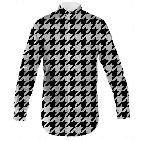 MEN S BUTTON DOWN Black and White Geometric Design