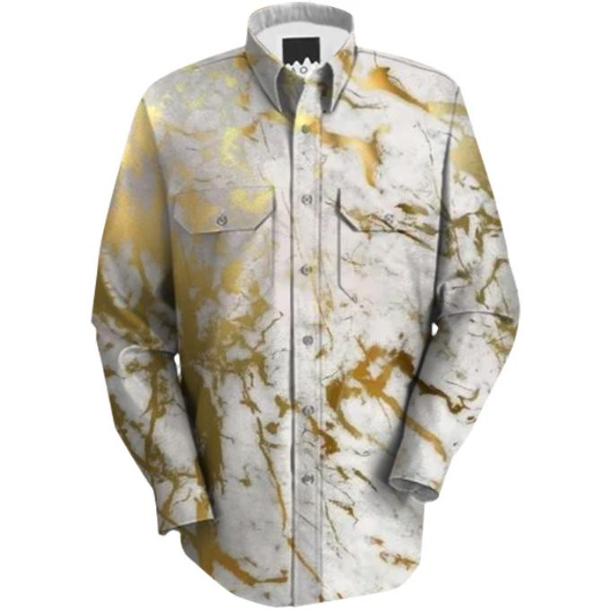 WHITE GOLD MARBLE SHIRT