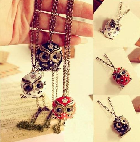 Crystal Flower Owl Pendant Necklace