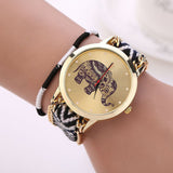 New Fashion Retro Clock Handmade Braided Elephant Bracelet Watch