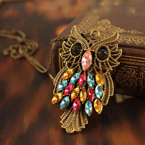 Colorful Rhinestone Retro Vintage Owl Pendant Necklace