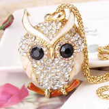18K Gold Vintage Crystal Owl Pendant Necklace
