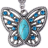 FREE Vintage Silver Crystal Turquoise Pendant Necklace