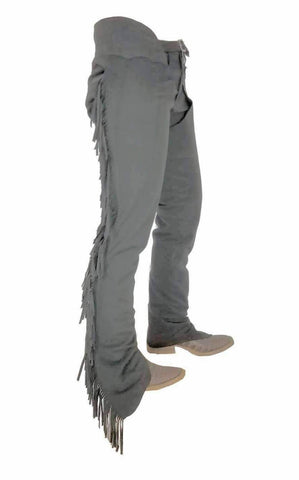 Steel Gray Ultrasuede Chaps W/ Stretch Panel