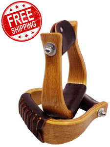 "2"" Oak Wood Bell Stirrups"