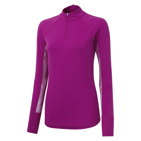 Noble Outfitters Ashley Long Sleeve Performance Shirt (Plum/ Lace)