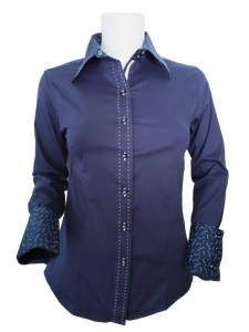 WOMENS CONTRAST CUFF & COLLAR BUCKSTITCH SHOW SHIRT (NAVY)