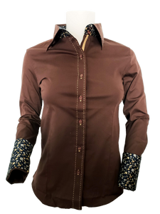 WOMENS CONTRAST CUFF & COLLAR BUCKSTITCH SHOW SHIRT (COCOA)